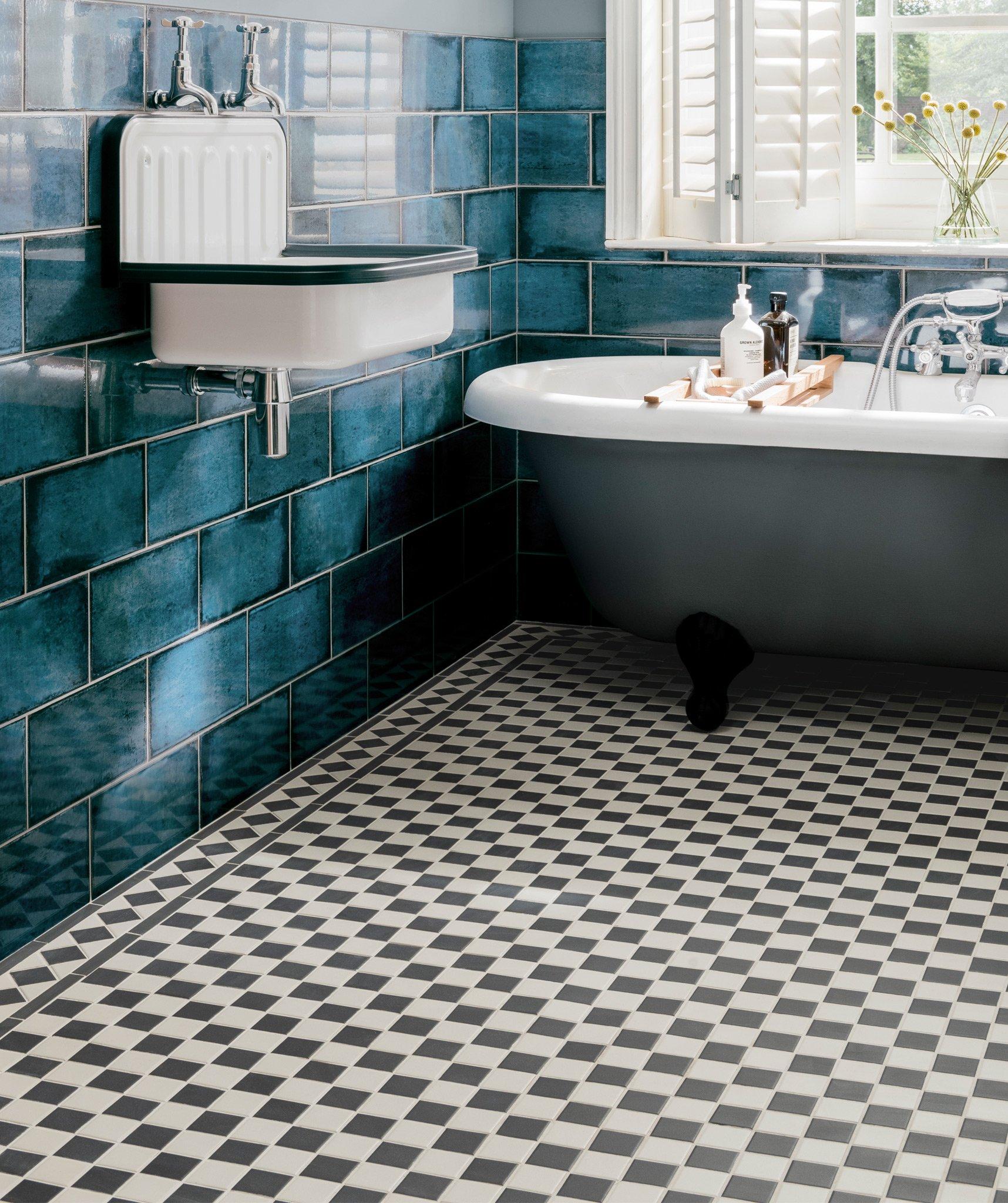 Victorian Mosaics Topps Tiles, Black And White Bathroom Tile